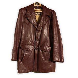 Vintage Brown Leather Button Down Jacket Sz 42